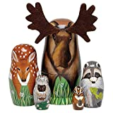 Bits and Pieces - ''Woody and Friends American Woodland Creatures Nesting Dolls - Hand Painted Wooden Nesting Dolls Matryoshka Animal Figurines - Set of 5 Dolls from 5.5'' Tall