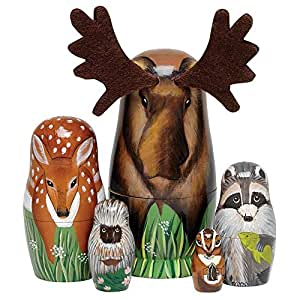 "Bits and Pieces - ""Woody And Friends"" American Woodland Creatures Nesting Dolls - Hand Painted Wooden Nesting Dolls Matryoshka Animal Figurines - Set of 5 Dolls From 5.5"" Tall"