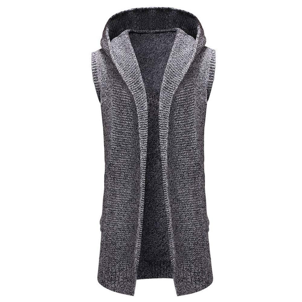 MIRRAY Men Cardigan Handsome Autumn Open Front Coats Sweater Hooded Hoodies Pockets Men' s Long Knitwear