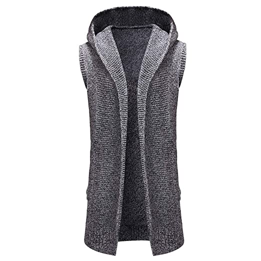 18b8dfb4a2070c PASATO Men s Fashion Hooded Solid Knit Trench Coat Jacket Cardigan  Sleeveless Outwear Blouse Tank (Gray