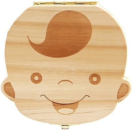 Kanggest 1Pcs Caja de Almacenaje de Dientes de Leche de Bebé de Madera Española para el Niño Guardar Dientes Lanugo: Amazon.es: Hogar