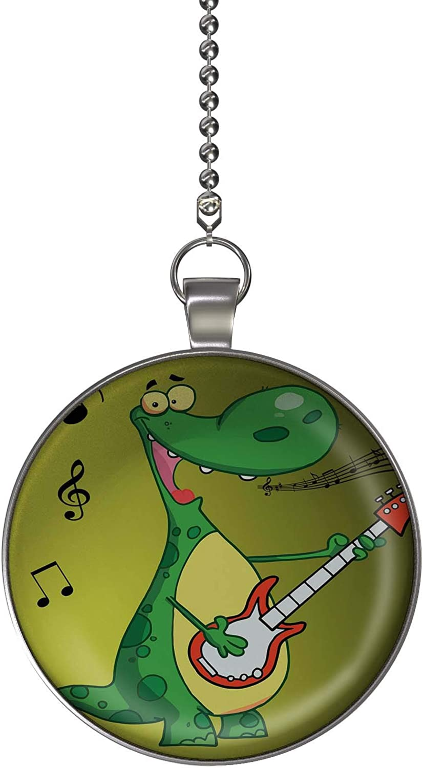 Gotham Decor Rock and Roll Dinosaur Fan//Light Pull Pendant with Chain