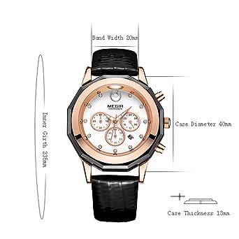 Ladies Watch M2042 Chronograph Leather Strap Quartz Women Watches with Date  Luminous