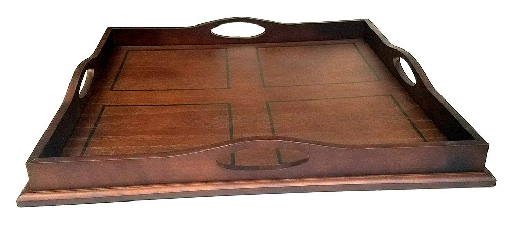"""Mountain Woods Square Ottoman Wooden Serving Tray with Handles - 23"""""""