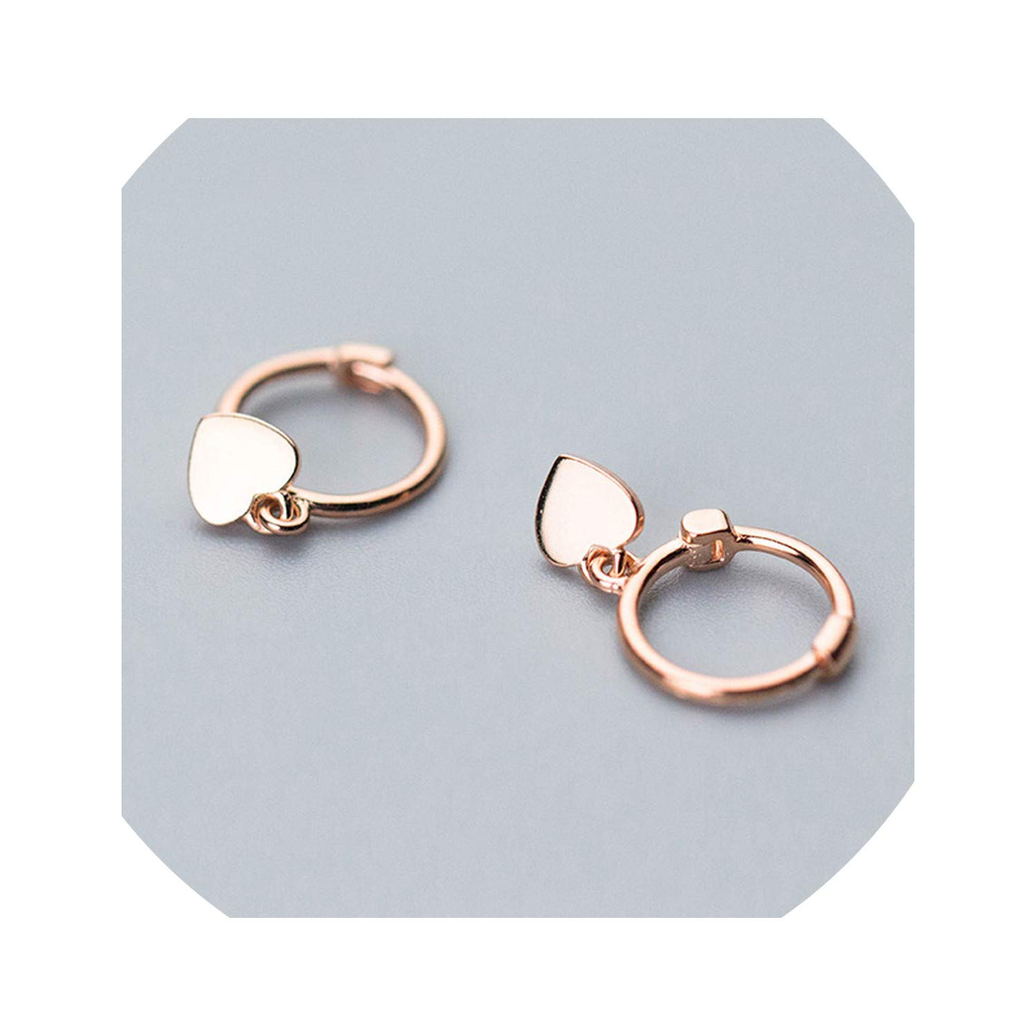 Rose Gold Color Heart Charm Stud Earrings sterling-silver-jewelry Small Studs Earring