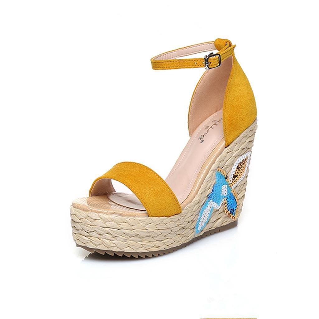 BaiLing Damen Sommer Sandalen/Wedge Wasserdicht/Stickerei Ferse Handgefertigte Gestrickte Stroh Wasserdicht/Stickerei Sandalen/Wedge Kleine Größe Schuhe, Yellow, CN39 - 483d81