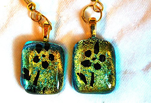 Green Dichroic Glass Earrings (Dichroic Glass earrings on gold filled wires with black flowers in green and gold)