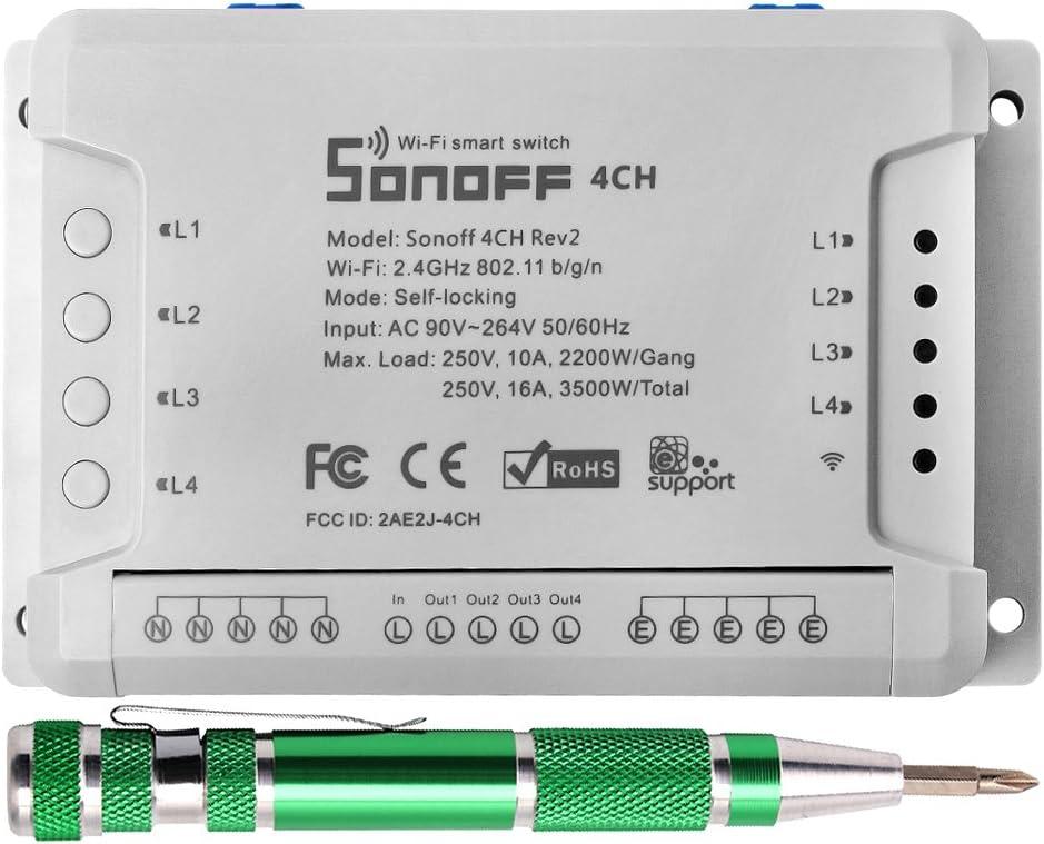 4CH R2 Interruptor Remoto WIFI Smart Switch Inteligente Inalámbrico Conmutador de Control Remoto del Temporizador(Compatible con Alexa)+9-en-1 Aluminio de Destornilladores de Precisión