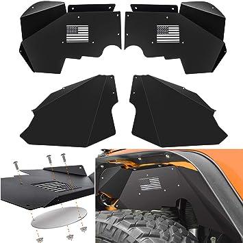MAIKER Front Inner Fender Liners for Jeep Wrangler JL US Flag Logo Lightweight Aluminum Design Black