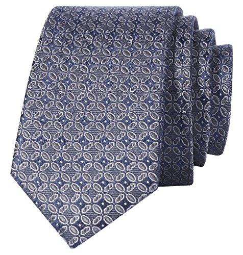 (Men's Luxe Silk Skinny Neat Tie in geometric pattern 100% Chinese Silk)
