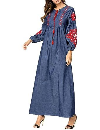 Zhhlaixing Manga Larga Bordado Vestido de Denim Kaftan Marroquí Abaya - Casual Vendimia Talla Grande Empalme Batas Musulmanas para Mujer: Amazon.es: Ropa y ...