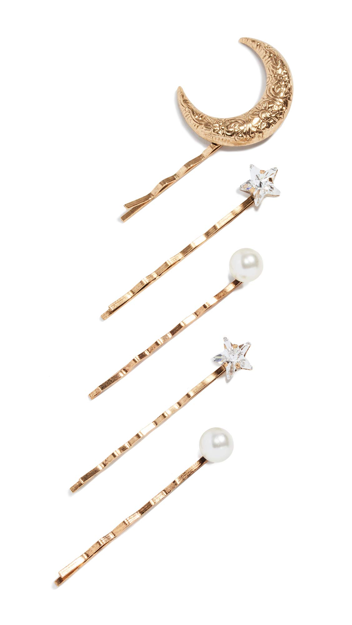 Jennifer Behr Women's Oberon Bobby Pin Set of 5, Crystal/Antique Gold, One Size