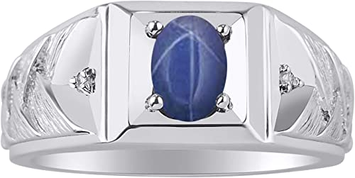 RYLOS Simply Elegant Beautiful Blue Star Sapphire /& Diamond Ring September Birthstone
