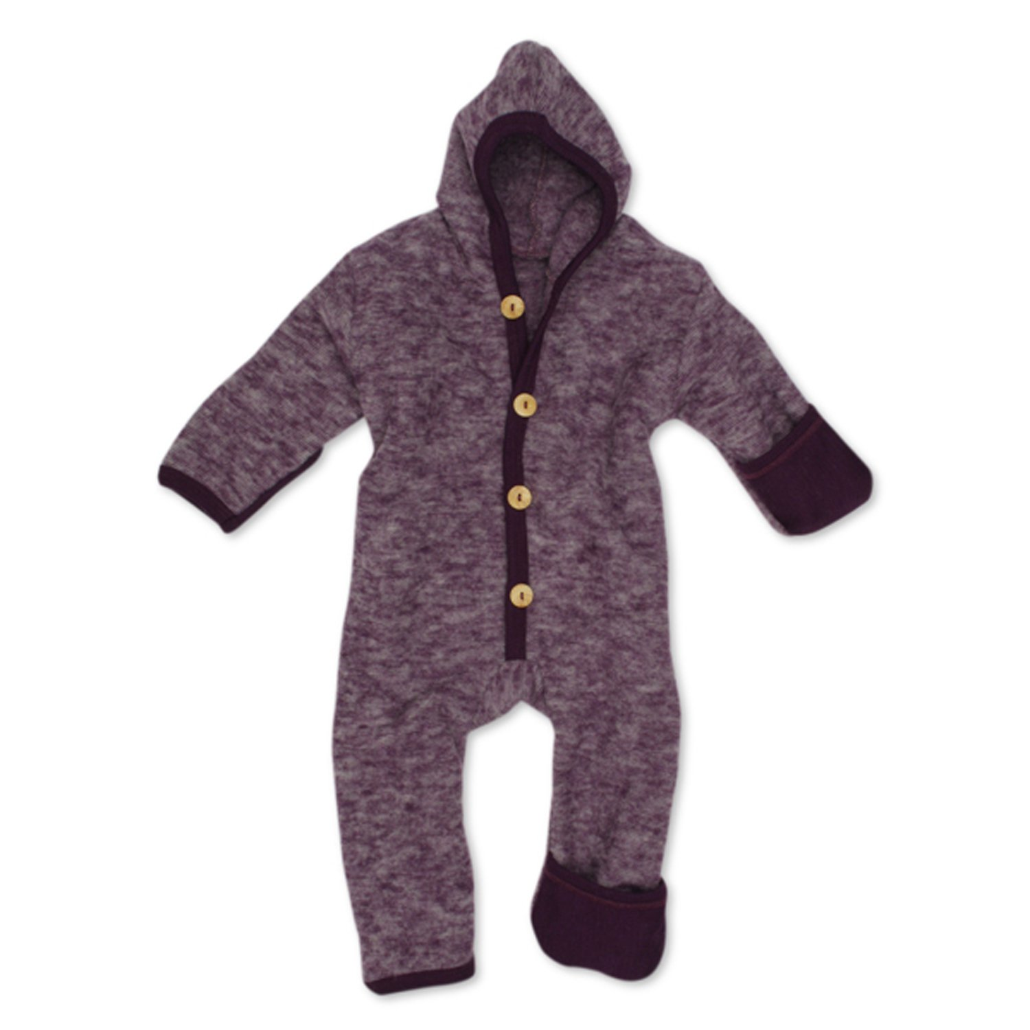 Cosilana - Baby Hooded Overall With Scratch Protection on Arms and Legs, 100% Organic Merino Wool