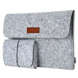 dodocool Laptop Felt Sleeve Envelope Cover Ultrabook Carrying Case with Mouse Pouch (Gray 13.3 inch)