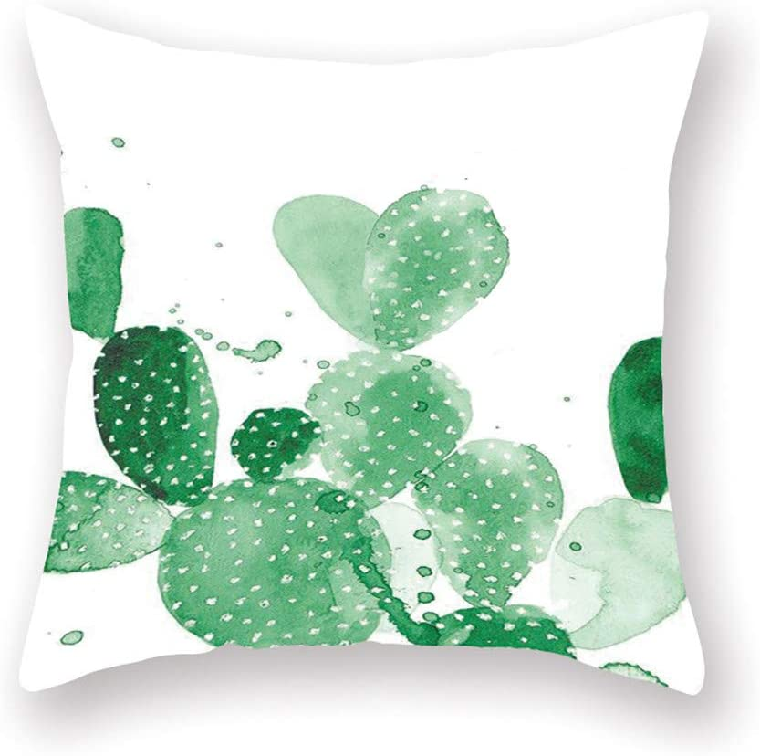 Green Plant Square Abstract Decorative Throw Pillow Covers 18 x 18 inches Cotton Linen Cushion Covers for Living Room Sofa