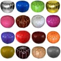 "Mina Stuffed Moroccan Leather Pouf Ottoman, Many Colors Available, 20"" Diameter and 13"" Height"
