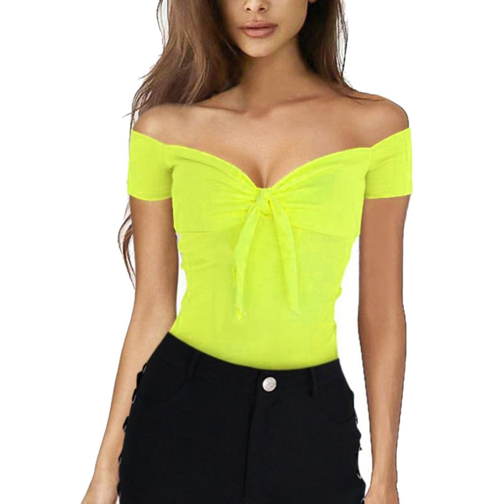 Women Shirt Short Sleeve Sexy Off Shoulder Tie Knot Front Slim Fit Tunic Tops Blouse (M, Yellow)