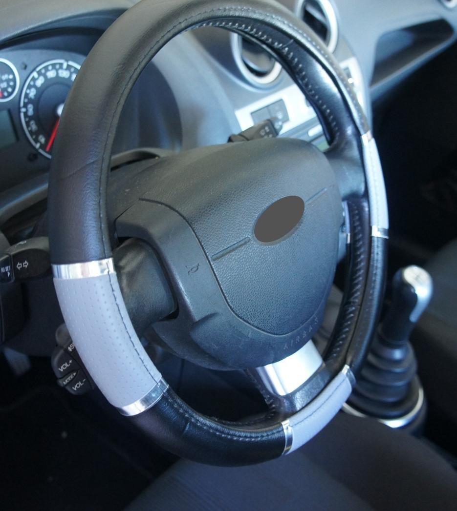 Ricambi Auto Europa - Funda de volante de polipiel negra y gris cromado para coche, excelente calidad, universal, antideslizante, diámetro 37 - 39 cm y 1 ...
