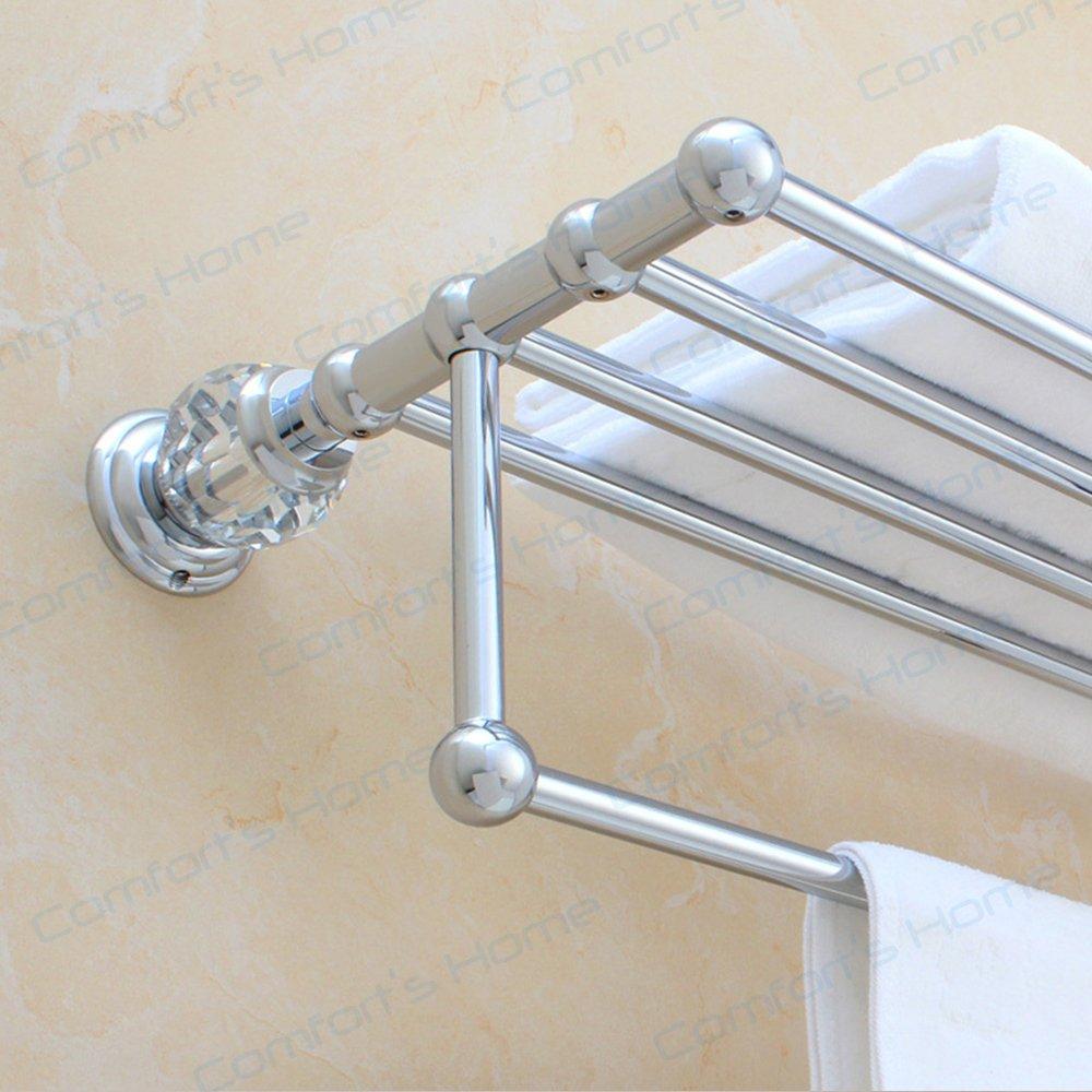 Comfort's Home SJ5612C Modern Wall Mounted Bathroom Towel Rack Shelf with Towel Bar, 22 Inch, Crystal Chrome