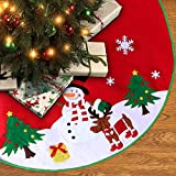 Christmas Tree Skirt 36 inches with Reindeer Snowflakes and Snowman Design