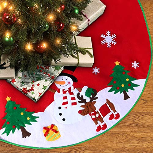 Christmas Tree Skirt 36 inches with Reindeer Snowflakes and Snowman - Rug Christmas Tree