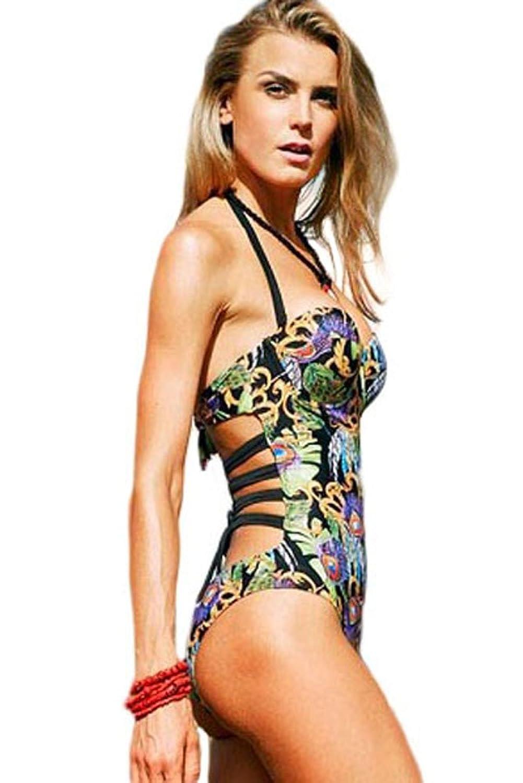 NICE BUY Damen Badeanzüge Neckholder Einteiler Bademode Plus Size