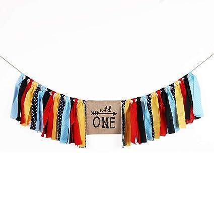 Amazon Com Lveud Blue Black Handmade Wild One Banner Baby Boy First