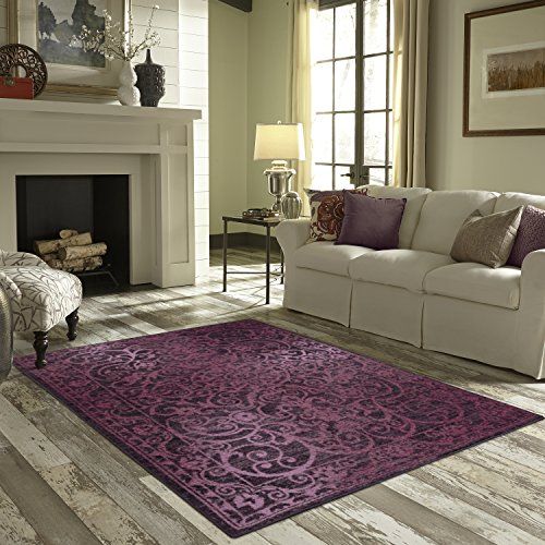 Area Rugs, Maples Rugs [Made in USA][Pelham] 7' x 10' Non Slip Padded Large Rug for Living Room, Bedroom, and Dining Room - Wineberry Red by Maples Rugs (Image #3)