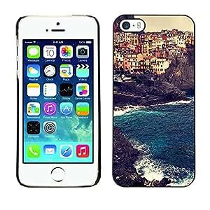 TopCaseStore / la caja del caucho duro de la cubierta de protección de la piel - Europe Sun Summer Buildings - Apple iPhone 5 / 5S