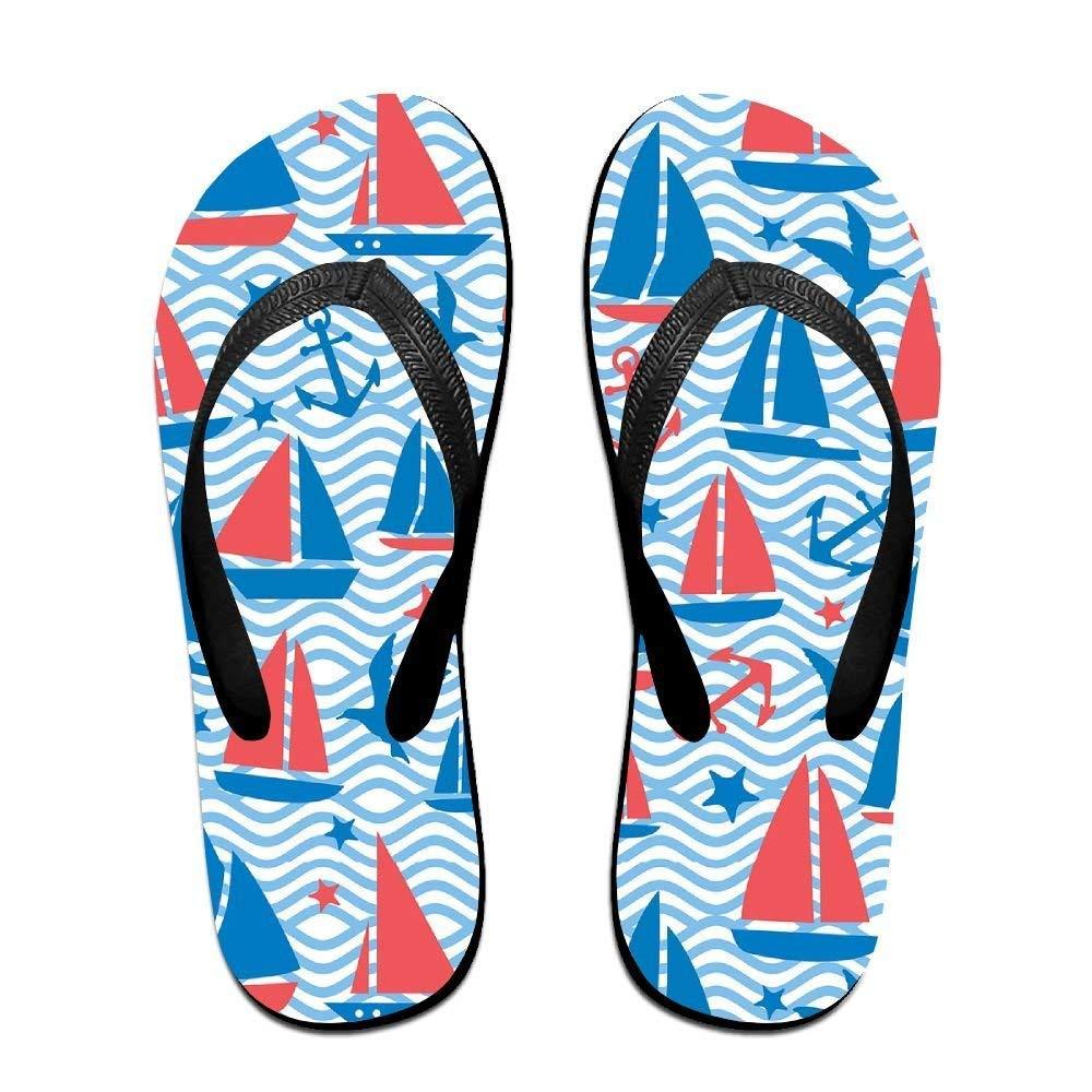 Kelysun Summer Beach Sanls Sea Sailboats Comfortable Flip-Flop Multiple Sizes Unisex