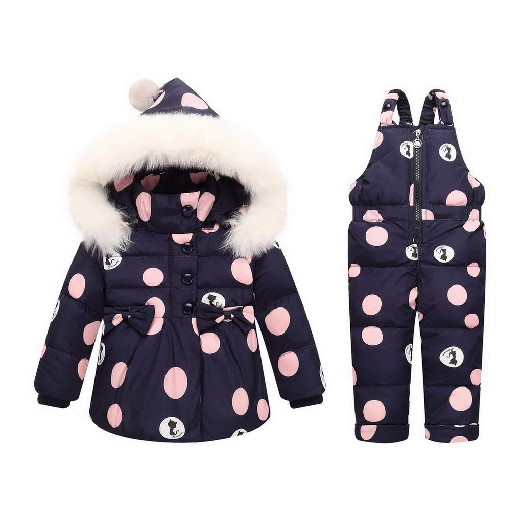 0-3 Years ACMEDE Baby Girls Snowsuit Ski Jacket and Bib Pants Dot Printed Jumpsuit Winter Outfit