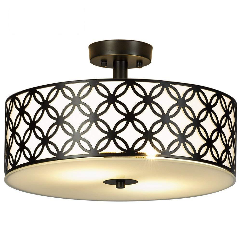 "SOTTAE Black Ceiling Lamp 2 Lights Creamy White Glass Diffuser Living Room Flush Mount Ceiling Lights, Ceiling Light Fixture in 13"""