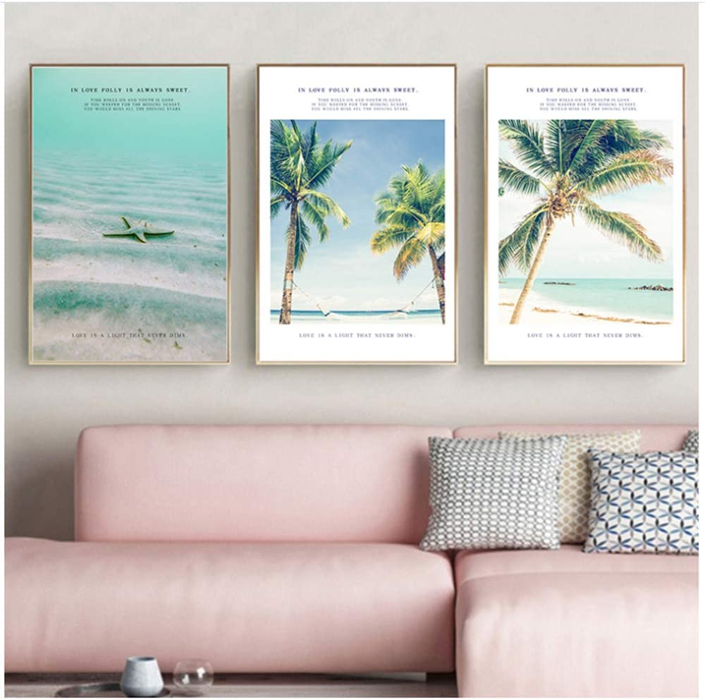 "Canvas Art Print Summer Sun Beach Coco Starfish Landscape Print Poster Picture Wall Modern Minimalist Decor-60x80 cm/23.6"" x 31.5""Frameless"