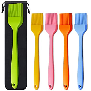 Silicone Basting Brush 5 Pack Pastry Brushes, Spread Oil Butter Sauce Marinades for BBQ Grill Baking Kitchen Cooking, Baste Pastries Cakes Meat Sausages Desserts, FDA Approved, 10.2  and 8.2