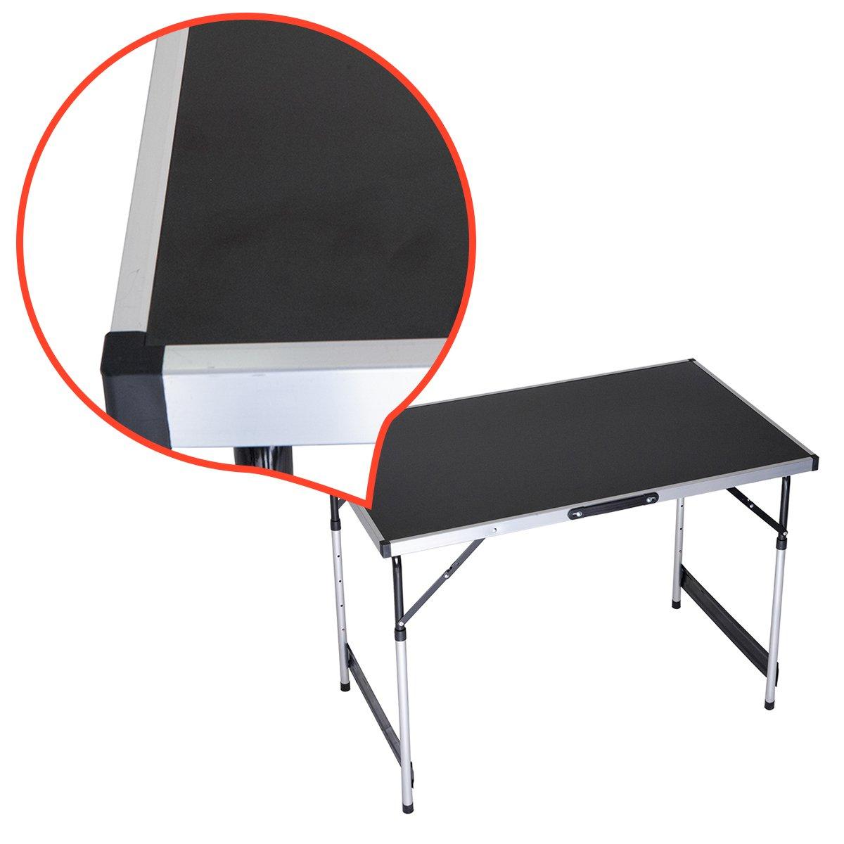 rman Table de camping Table pliante Table de jardin Table pliable 1m Tish multifonction Noir Hauteur réglable 73–94cm