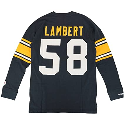 769204354 Mitchell & Ness Pittsburgh Steelers Jack Lambert Name & Number Long Sleeve  Tee ...