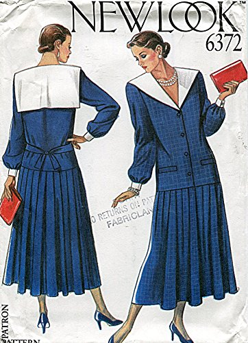 (New Look Pattern 6372 Drop-Waist Dress with Sailor Collar, Size)