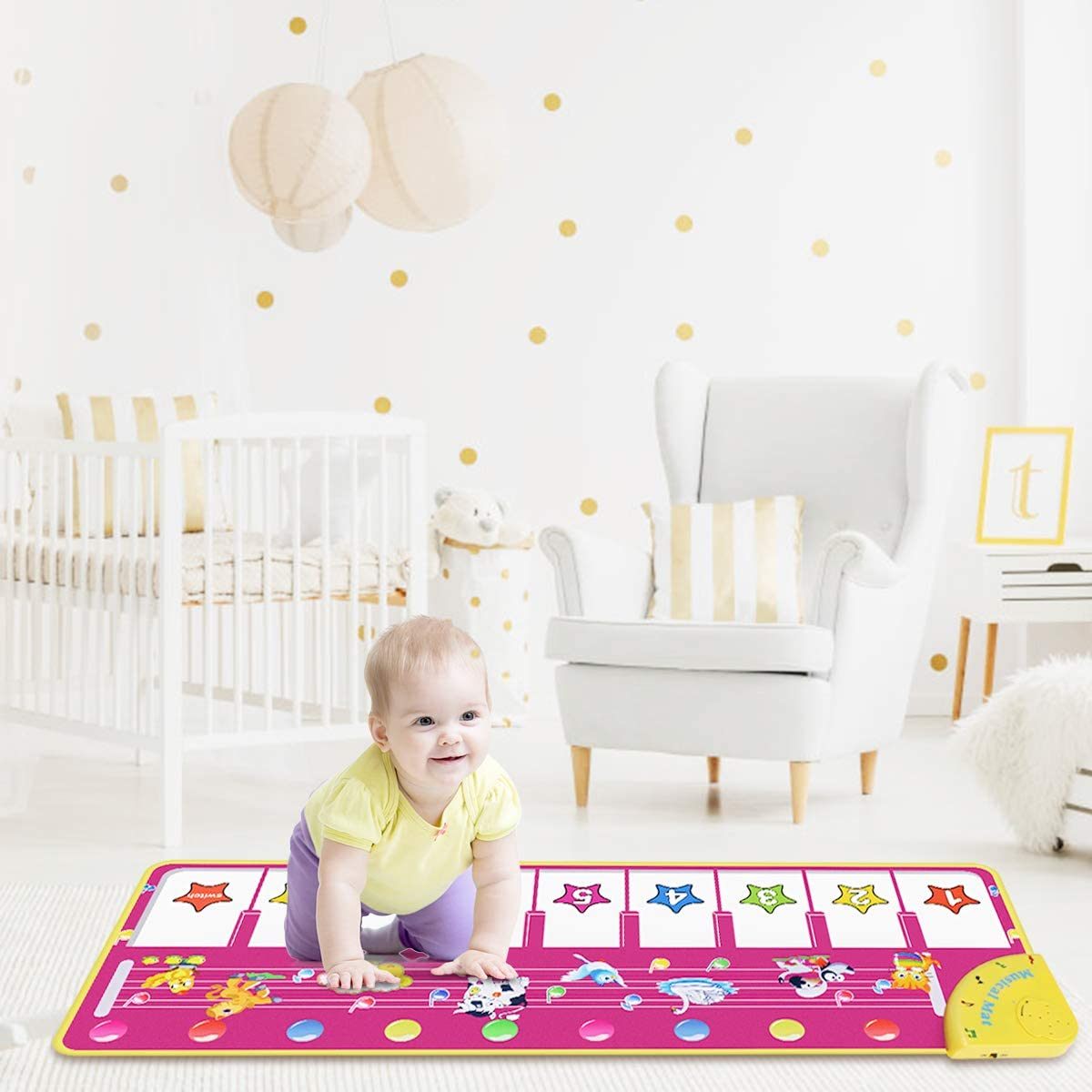 RenFox Kids Musical Keyboard Piano Mat, Electronic Music Play Blanket Dance Mat With 8 Different Animal Sound For Early Learning Education Toys Gift For Toddler Baby Boys Girls (Batteries Included)