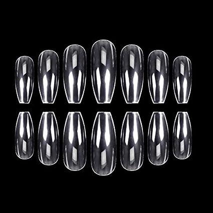 Puntas de uñas claras, Leegoal (TM) Ballerina Natural Coffin uñas de cubierta completa