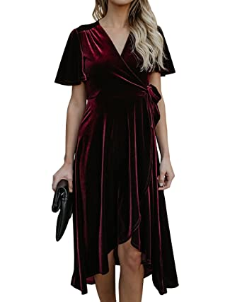 bf4552384b332 Ybenlow Womens V Neck Velvet Pleated Tie Waist Slit Wrap Asymmetric Midi  Dress at Amazon Women's Clothing store: