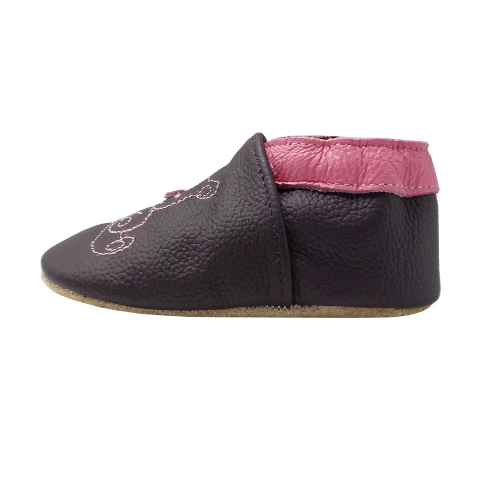 Yalion Baby Soft Sole Leather Shoes Infant Toddler Moccasin Prewalker Crib Shoes Bear Dark Purple