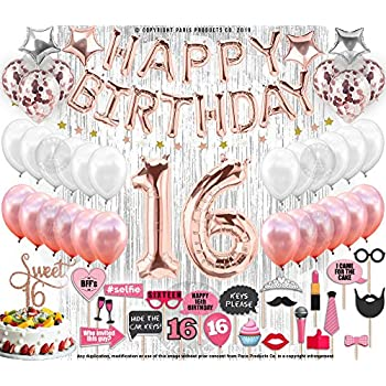 130 PCS 16th Birthday Decorations Party Supplies Sweet 16 Balloons