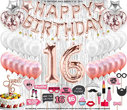 130 PCS 16th Birthday Decorations Party Supplies Sweet 16 Birthday Balloons | Rose Gold Confetti Balloons|16 Cake Topper Rose Gold| Silver Curtain for Photo Booth Photo Props | Sweet Sixteen Decorati -