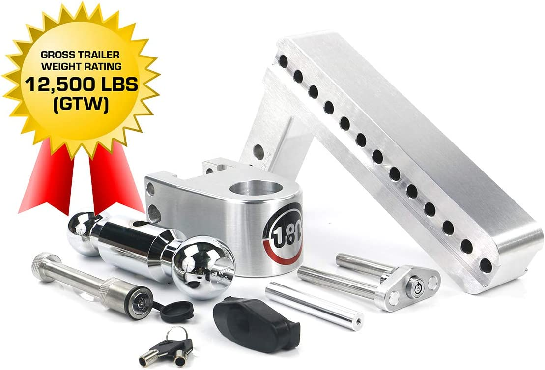 Weigh Safe 180 HITCH CTB4-2-KA 4 Drop Hitch Adjustable Aluminum Trailer Hitch Ball Mount /& Chrome Plated Combo Ball Keyed Alike Key Lock and Hitch Pin 2 Receiver 12,500 LBS GTW