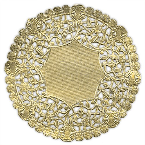 (Pack of 50) Black Cat Avenue 10 Inch Round Metallic Gold Foil Doilies -