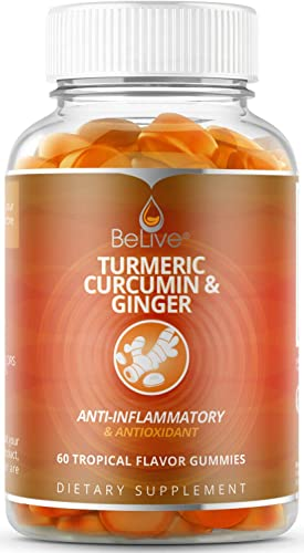 Turmeric Ginger with Curcumin Gummies, Joint Support and Pain Relief. Anti-Inflammatory, Chews for Adults Kids, 60 Chewable Gummy Vitamins