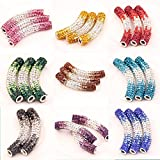 HYBEADS 10pcs 45mm Multi Colour Mixed Long Tube Shamballa Tube Crystal Beads Pave Crystal Rhinestone Curved Bar