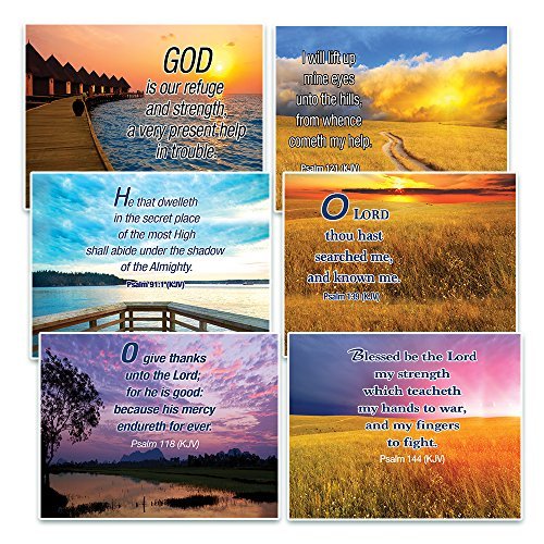 Christian Inspirational Postcards - Psalms KJV Postcards (60-Pack) - Postcrossing Birthday Church Stocking Stuffers for Men Women Teens Kids