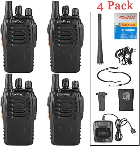 HESENATE HT-U666 Two Way Radio UHF 400-470MHz 16-Channel USB Rechargeable Professional Transceiver LED Flashlight Walkie Talkie Pack of 4